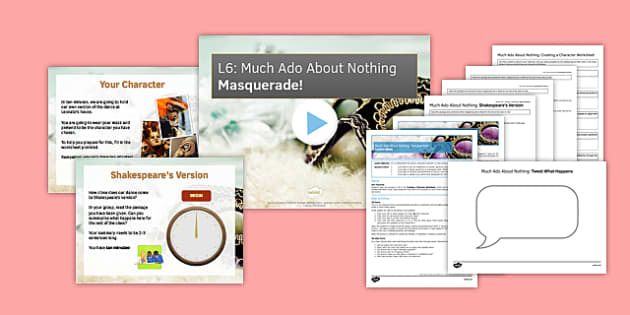 Much Ado About Nothing Lesson Pack 6: Masquerade! - much ado about nothing, lesson pack, pack, shakespeare, english