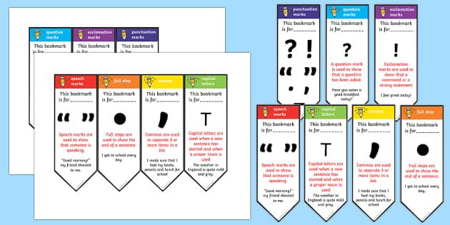 Editable Punctuation Bookmarks - punctation, punctuation bookmarks, bookmarks, editable bookmarks, behaviour management, rewards, awards, prizes