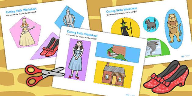 The Wizard of Oz Themed Cutting Skills Worksheet - motor skills