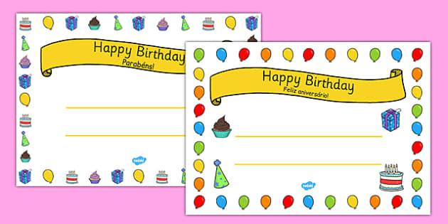 General Happy Birthday Certificates Portuguese Translation - portuguese, general, happy birthday, certificates