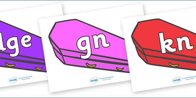 Silent Letters on Coffins (Multicolour) - Silent Letters, silent letter, letter blend, consonant, consonants, digraph, trigraph, A-Z letters, literacy, alphabet, letters, alternative sounds