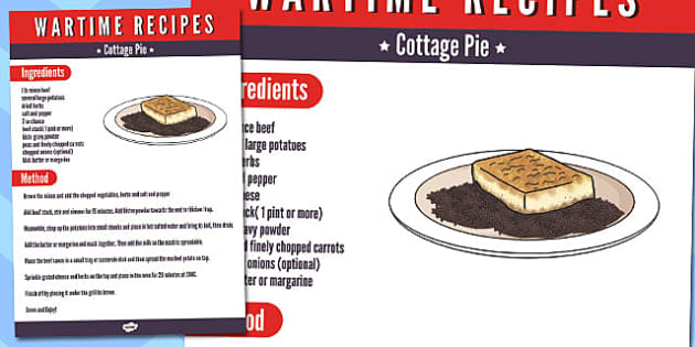 Wartime Cottage Pie Recipe - wartime, recipe, cottage pie, ration