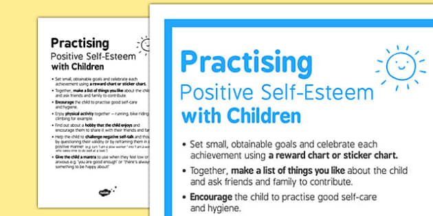 Practising Positive Self Esteem with Children - self esteem, children, positive