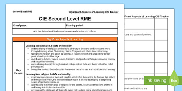 Religious and Moral Education Significant Aspects of Learning and Progression Framework CfE Second Level Tracker-Scottish