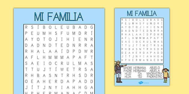 Sopa de letras - mi familia - padre, madre, hermano, abuelo, parientes, árbol de familia