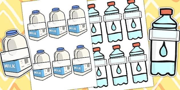 Milk And Water Bottle Editable Self Registration Label - self reg