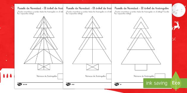 Hacemos árboles con triángulos Ficha de actividad - formas, figuras 2D, navidad,Spanish