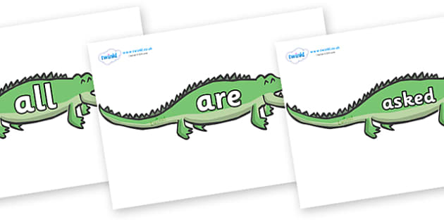 Tricky Words on Crocodiles - Tricky words, DfES Letters and Sounds, Letters and sounds, display, words