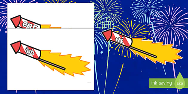 Phase 3 Phonemes on Firework Rockets Cut-Outs