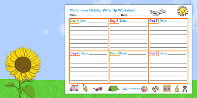 Summer Holiday Write Up Worksheet - seasons, weather, vacation