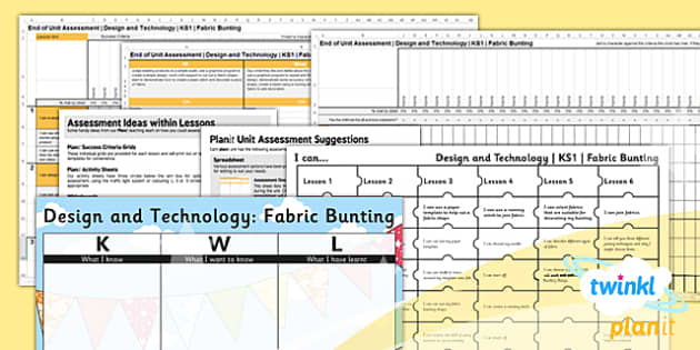 PlanIt - Design and Technology KS1 - Fabric Bunting Unit Assessment Pack - planit, assessment, pack