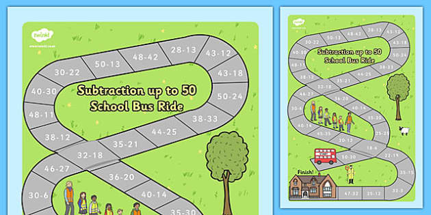 Subtraction to 50 Bus Board Game - subtraction to 50, subtraction, 50, bus board game, board game, bus, board, game, activity