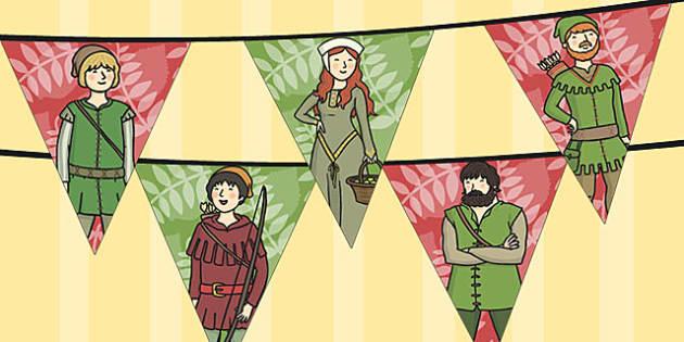 Robin Hood Bunting - robin, hood, bunting, display, merry men