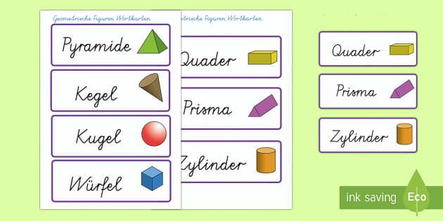 Geometrische Körper Wort- und Bildkarten