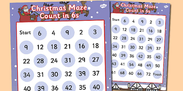 Christmas Counting in 6s Maze Activity - christmas, counting
