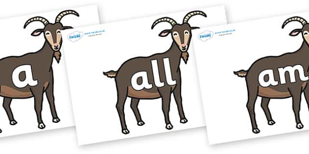 Foundation Stage 2 Keywords on Big Billy Goats - FS2, CLL, keywords, Communication language and literacy,  Display, Key words, high frequency words, foundation stage literacy, DfES Letters and Sounds, Letters and Sounds, spelling