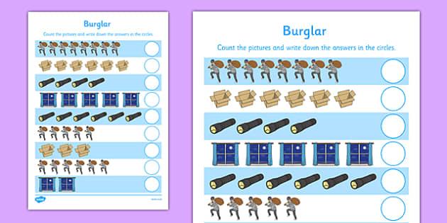 Burglar Counting Sheet - burglar bill, burglar, counting, count, activity