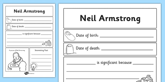 Neil Armstrong Significant Individual Writing Frame - Armstrong