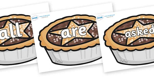 Tricky Words on Mince Pies - Tricky words, DfES Letters and Sounds, Letters and sounds, display, words
