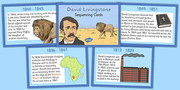 Scottish Significant Individuals David Livingstone Sequencing Cards - Scottish significant individual, explorer, Christian missionary, Africa, Victoria Falls, Zambezi, slave trade, anti-slave