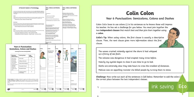 Year 6 Punctuation: Colons, Semicolons and Dashes Learning From Home Activity Booklet - Learning From Home Activity Booklets (KS2), semi-colon, colon, dashes, independent clauses, SPaG, GP