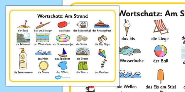Seaside Word Mat German - seaside, sea, beach, summer, topic, German, Deutsche, Germany, vocabulary, writing,
