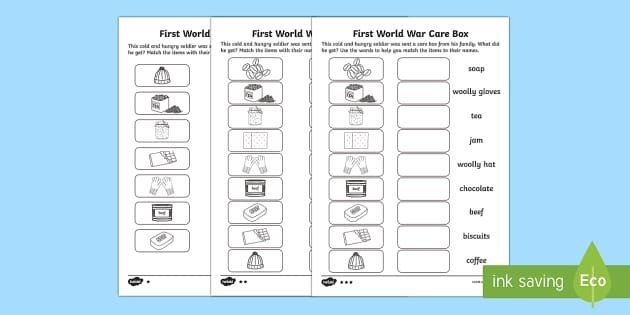 Differentiated Matching Activity on World War One Care Box Word and Picture Matching Activity Sheet