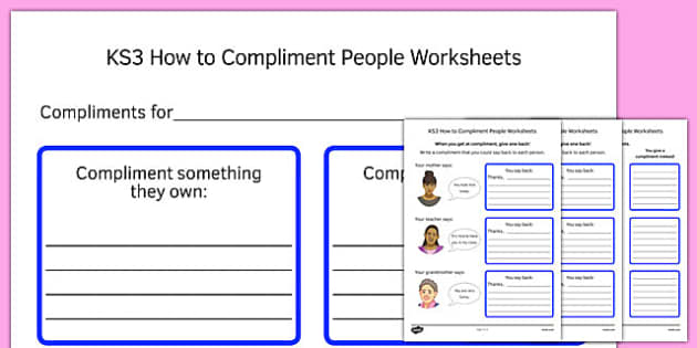 KS3 How to Compliment People Worksheets - ks3, how, compliment, people, worksheets