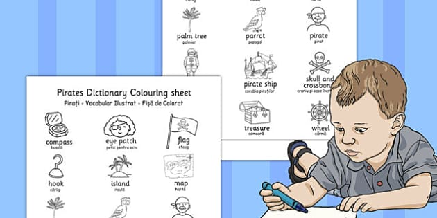 Pirates Dictionary Colouring Sheet Romanian Translation - romanian