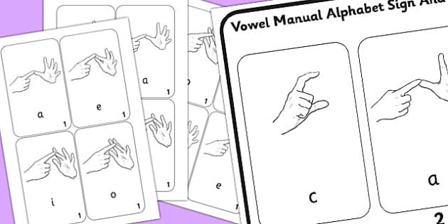 British Sign Language Vowel Manual Alphabet Sign And Flip Mat