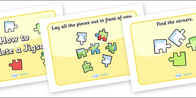How to Complete a Jigsaw Display Posters - jigsaws, jigsaw area, completing a jigsaw, games area, challenge area, jigsaw