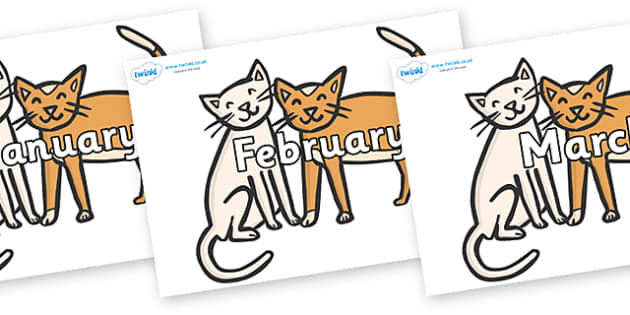 Months of the Year on Cats - Months of the Year, Months poster, Months display, display, poster, frieze, Months, month, January, February, March, April, May, June, July, August, September