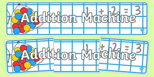 Addition Machine Display Banner - addition machine, display banner, display, banner, addition, add
