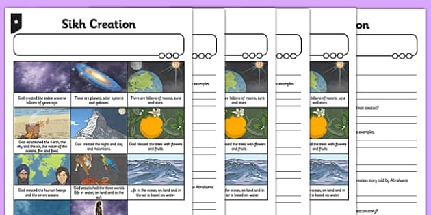Sikh Creation Story Differentiated Comprehension Activity Sheet Pack, worksheet