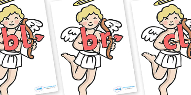 Initial Letter Blends on Cherubs - Initial Letters, initial letter, letter blend, letter blends, consonant, consonants, digraph, trigraph, literacy, alphabet, letters, foundation stage literacy