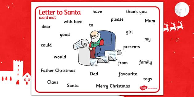 Letter to Santa Word Mat - letter, santa, word, mat, word mat