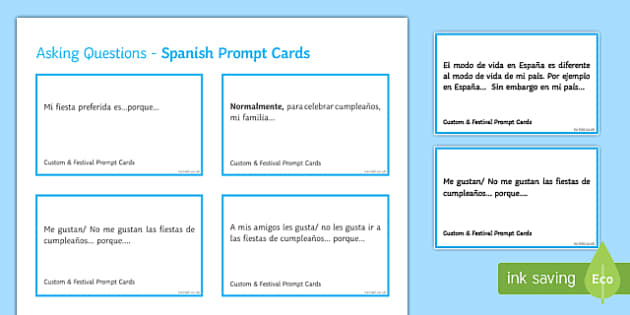 General Conversation Customs & Festivals Spanish Question Prompt Cards