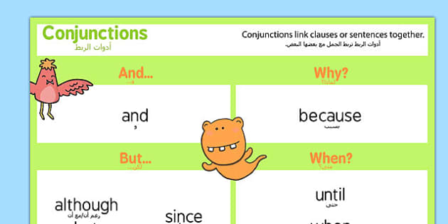 Conjunctions Word Mat Arabic Translation - arabic, Connectives