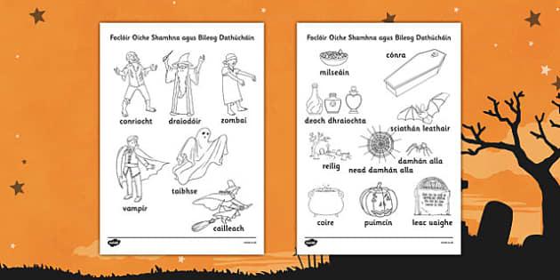 Irish Halloween Words Colouring Sheet - roi, irish, republic of ireland, halloween