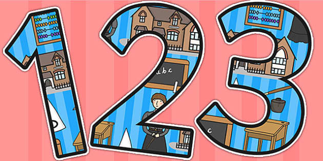 Victorian School Themed A4 Display Numbers - victorian school