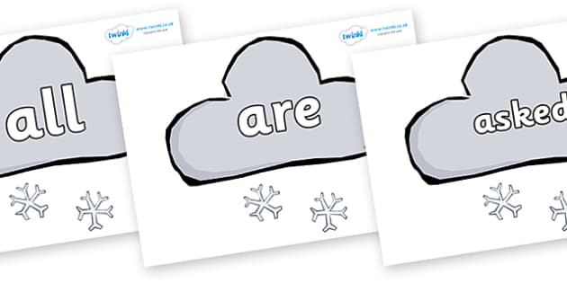 Tricky Words on Weather Symbols (Snow) - Tricky words, DfES Letters and Sounds, Letters and sounds, display, words