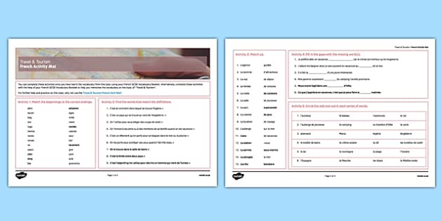 Travel and Tourism French Activity Mat - french, Travel, Tourism, Holidays, Vacances, Voyage, Tourisme, vocabulaire, révision, revision, learning mat