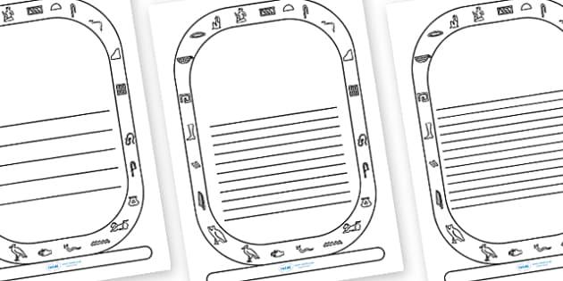 Cartouche Writing Frames - cartouche, cartouch frame, cartouche template, history writing frame, history template, egyptian writing frame, ancient egypt