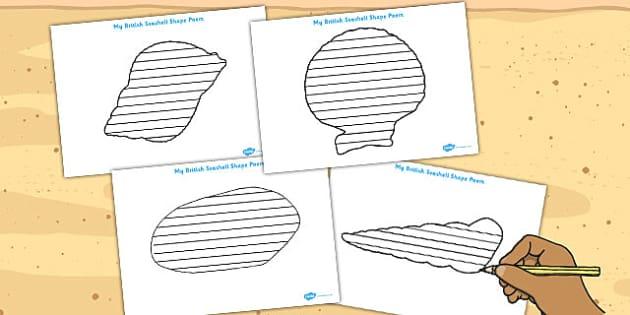 British Seashell Shape Poetry Templates - british, seashell, poem