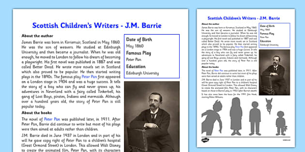 Scottish Children's Writers JM Barrie Information Sheet - CfE, literacy, Scottish Children's writers, J.M Barrie, Peter Pan