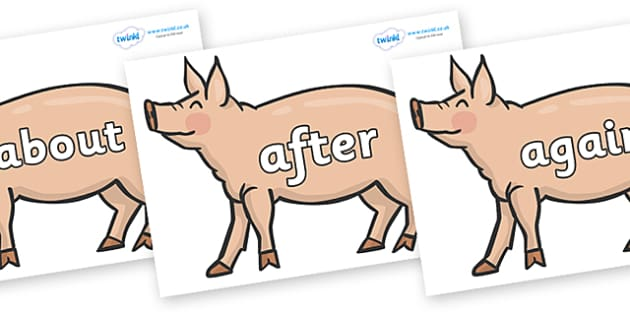 KS1 Keywords on Pig to Support Teaching on Pig in the Pond - KS1, CLL, Communication language and literacy, Display, Key words, high frequency words, foundation stage literacy, DfES Letters and Sounds, Letters and Sounds, spelling