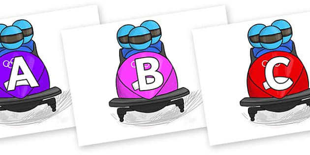 A-Z Alphabet on Bobsleigh - A-Z, A4, display, Alphabet frieze, Display letters, Letter posters, A-Z letters, Alphabet flashcards