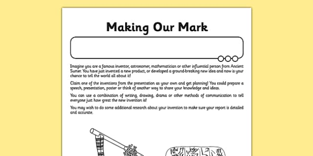 Ancient Sumer Making our Mark Activity Sheet - ancient sumer, making our mark, activity sheet, activity, sheet, sumer, sumerian, worksheet