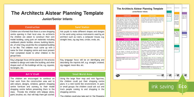ROI The Architects Aistear Planning Template - Aistear, Infants, English Oral Language, School, The Garda Station, The Hairdressers, The Airport, T