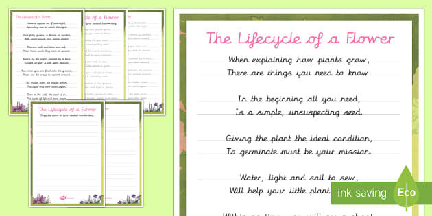 Life Cycle of a Plant Handwriting Poem - poem, handwriting, practise, letter, formation, plant, flower, seed, life cycle, germination, water,